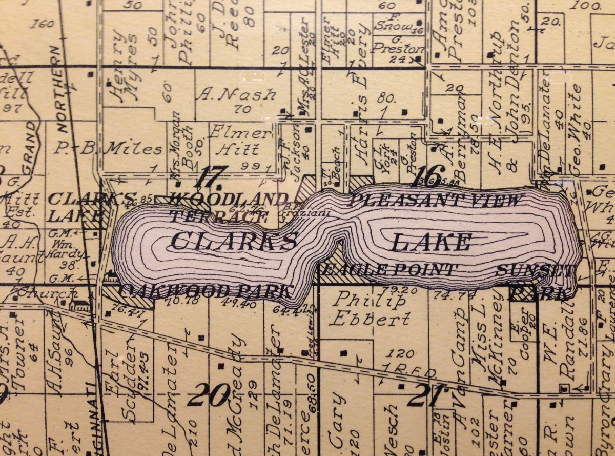Historical map of Clark Lake