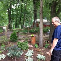 Dave Hill surveys the garden in his yard