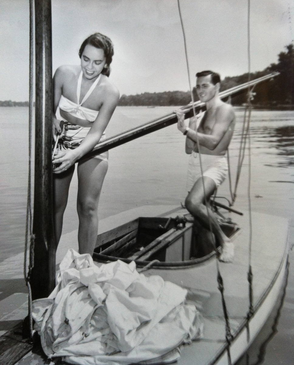 An early picture of Dr. Mary Bentley and Dr. Jack Bentley at Clark Lake. Sailing, as well as other pursuits like it, have always interested the Bentley's.