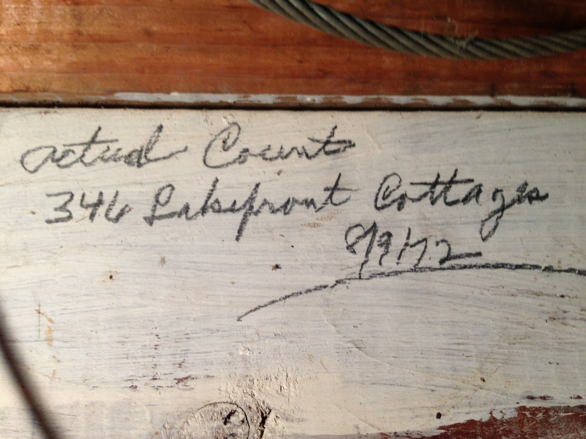 Bill Ligibel recorded the 1972 house count on an inside wall of his garage where it remains to this day
