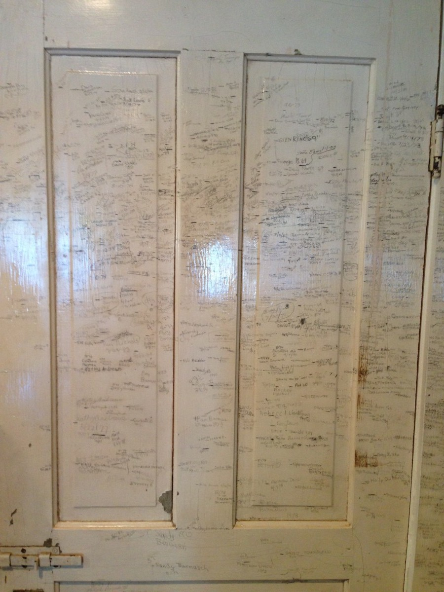 "The Everys ""measured"" practically every kid at the lake each year and recorded their heights on a door in their cottage.  Eventually the measuring extended to the walls.  This bit of history has been preserved by the Every descendants, who still own the cottage, to this day."