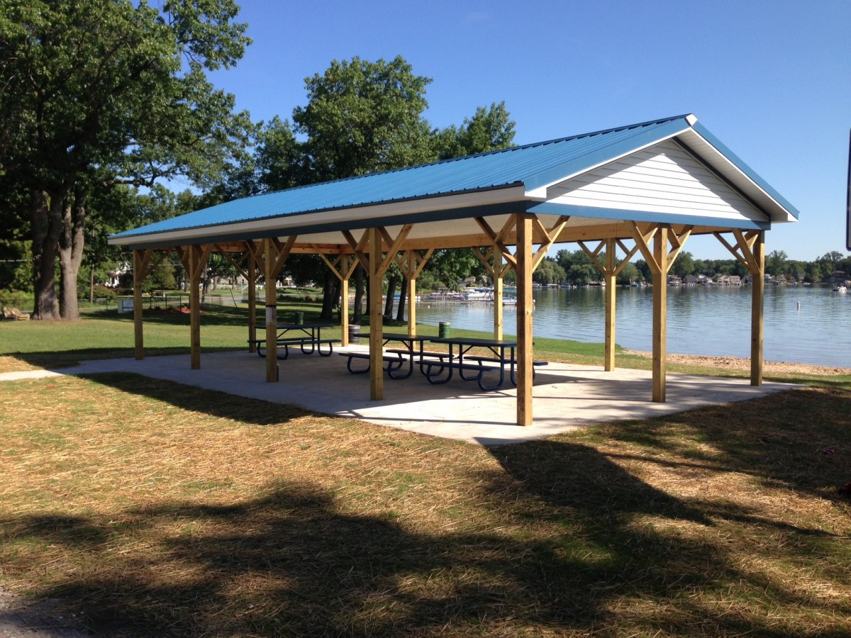 The newly built pavilion at the Columbia Township Park, west end of Clark Lake.