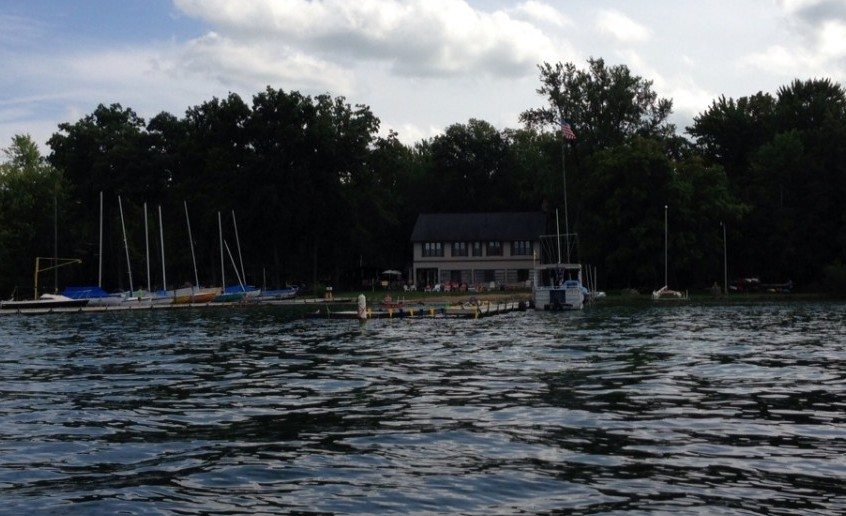 Clark Lake Yacht Club.  Many of the lake's sailboats are moored here.