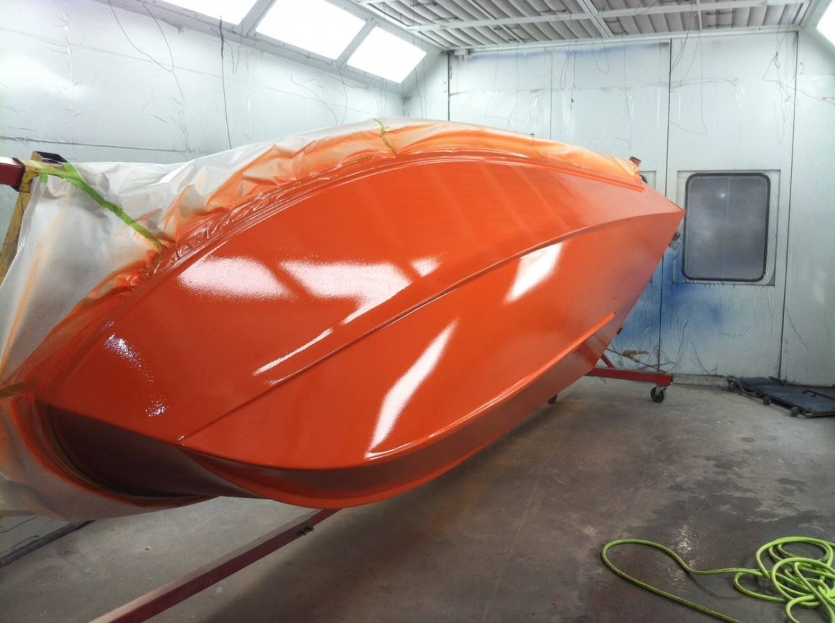 Vibrant orange gel was applied over the new fiberglass.