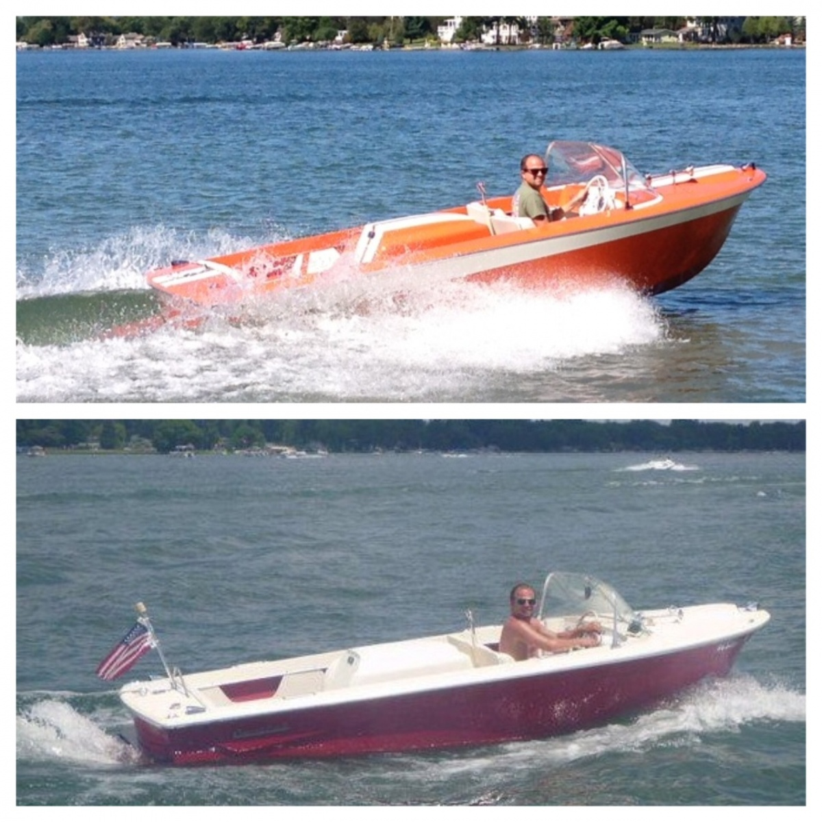 "Before on the bottom, after on top. The '68 Mustang went from apple red to orange.  B.J. is married to Sally.  Any speculation that the boat will acquire a name?  Like ""Mustang Sally?"""