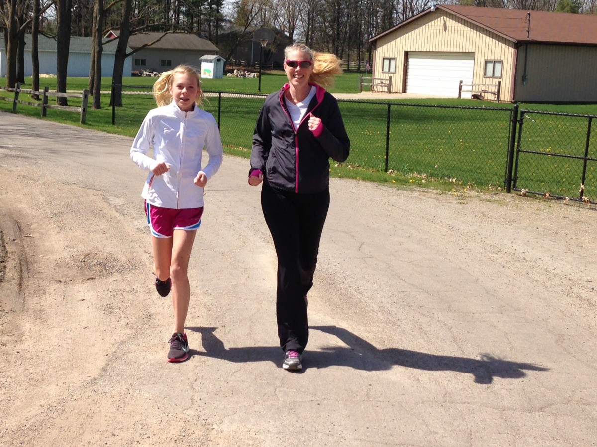 Becky Loechl with daughter Adelaide near Kentucky Point