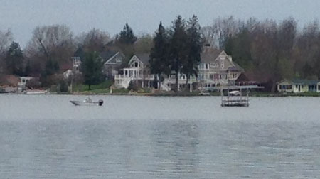 Boat towing lift over deep water on May 5th