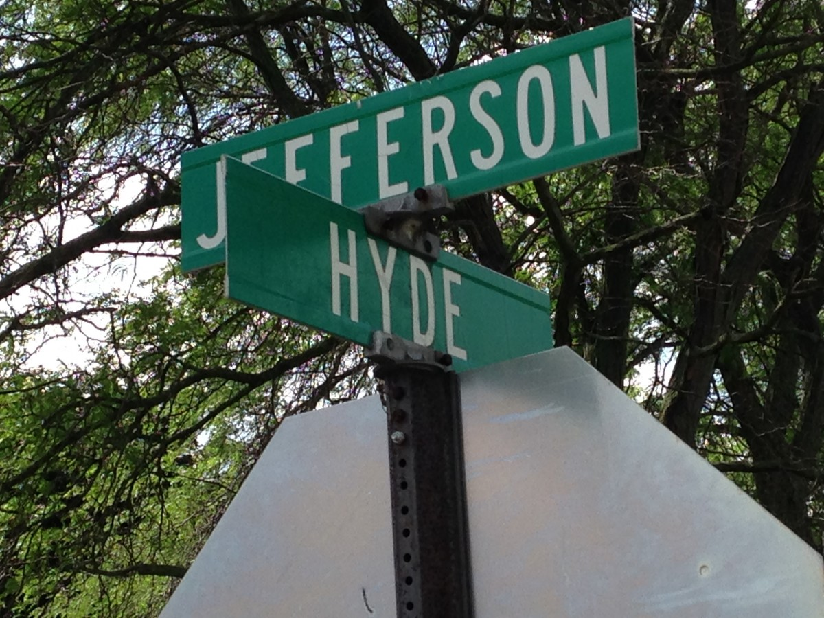 Jefferson and Hyde Rd sign