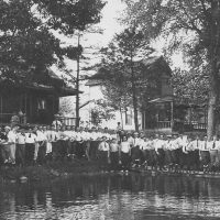 Clark's Lake Parade day, August 1905, the men