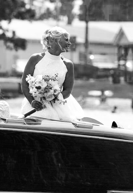bw bride on boat